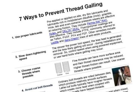 Thread Galling Solutions Guide